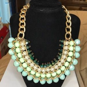 H&M Teal Turquoise Crystal Beaded Bib Necklace